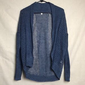 Margaret O'Leary Blue Knit Netted Cardigan Size XS